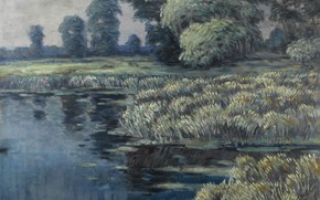 Picture picture, Vaclav Radimsky, Vaclav Jan Emmanuel Radinski, Willows and Reeds in a River Landscape