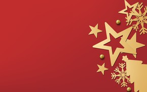 Picture winter, snowflakes, red, golden, black, Christmas, red background, winter, background, stars, snowflakes