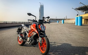 Picture road, orange, the building, motorcycle, is, moto, KTM, wheel, KTM Duke 390, arc security, on …