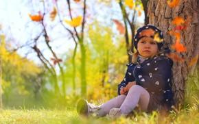 Picture autumn, nature, child, girl