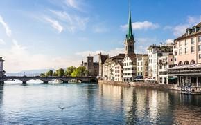 Picture bridge, lake, home, Switzerland, Zurich