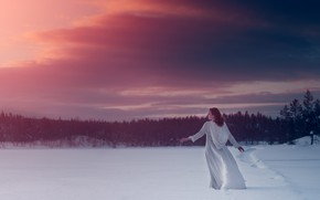 Picture winter, girl, snow, sunset, dress