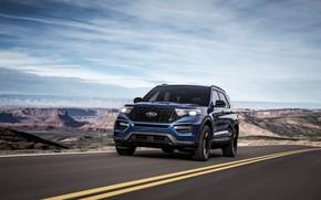 Picture road, blue, Ford, SUV, Explorer, 2020, Explorer ST