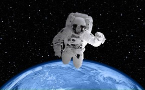 Picture space, planet, stars, the suit, Earth, orbit, NASA, weightlessness, astronaut, Digital Universe