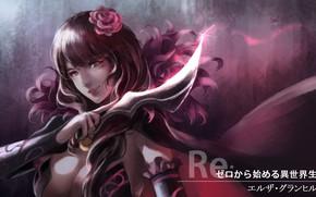 Picture girl, weapons, anime, art, knife, Re: Zero kara hajime chip isek or Seikatsu, From scratch