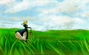 Picture field, grass, girl, the wind, texture, the saber, Fate stay night, Fate / Stay Night