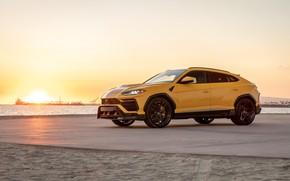 Picture Lamborghini, Sunset, Yellow, SUV, Urus, VAG