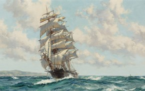 Picture sea, frigate, wave, sailing ship, oil painting