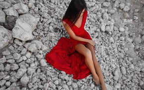 Picture stones, dress, girl, legs, Belavin, Alexander Belavin