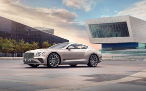 Picture metal, continental, bentley, sky, trees, stone, clouds, building, shine, 2020, mulliner