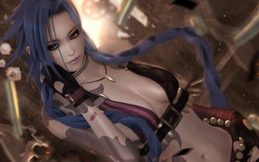 Picture chest, look, girl, League of Legends, jinx, loose cannon