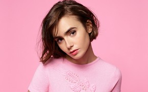 Picture look, girl, background, portrait, Lily Collins