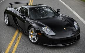 Picture design, black, Porsche, supercar, front view, Carrera GT