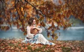 Picture autumn, girl, branches, nature, animal, foliage, Fox, pond, Fox, Anastasia Barmina