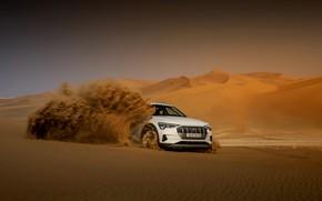 Picture sand, white, Audi, dust, E-Tron, 2019