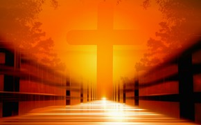 Picture bridge, the way, cross, faith, far