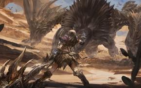Picture sword, fantasy, monster, weapon, Warrior, dragon, artwork, fantasy art, creature