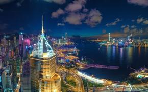 Picture Hong Kong, panorama, Bay, night city, skyscrapers, Hong Kong, Causeway Bay, Causeway Bay