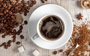 Picture coffee, spoon, mug, Cup, sugar, coffee beans