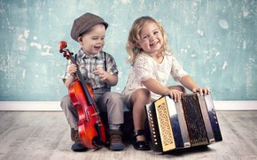 Picture violin, the game, boy, girl, girls, smile, smile, boys, musical instruments, little, musical, Instruments