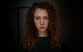 Picture girl, freckles, curls, Hope Podobina