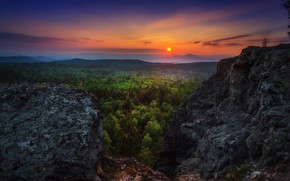 Picture forest, the sky, sunset, rocks, the view from the top, Sahaidak Paul