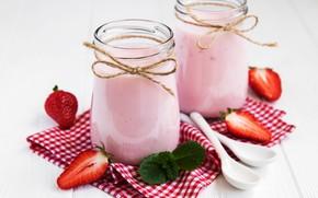 Picture strawberry, jars, smoothies with yogurt, Olena Rudo