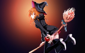 Picture blood moon, black cloak, witch hat, red Apple, witch, on the broom, red-haired beast