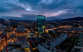 Picture the sky, clouds, landscape, the city, lights, building, home, the evening, Switzerland, roof, panorama, the …