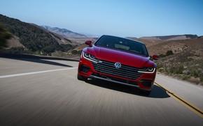 Picture road, asphalt, red, Volkswagen, front, liftback, Arteon, 2019, SEL Premium R-Line