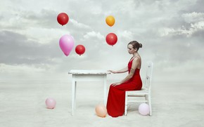 Wallpaper the sky, girl, table, balls, chair