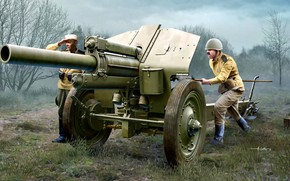 Picture forest, trees, USSR, Howitzer, The Soviet Army, The gunners, M-30