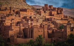 Picture the city, desert, building, home, hill, Morocco, Ksar, To Say-Ben-Khada)