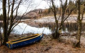 Picture autumn, boat, river