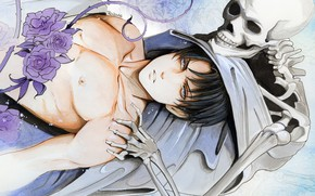 Picture flowers, skeleton, guy, Attack Of The Titans, Shingeki No Kyojin, Levi, by redwarrior3