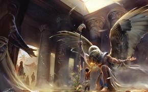 Picture God, wings, boy, columns, temple, Egypt, wings, Egypt, boy, god, temple, Horus, Chorus, Mountains, Ankh