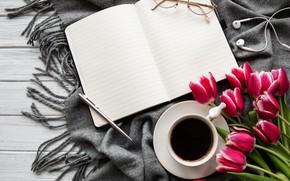 Picture coffee, bouquet, headphones, handle, Cup, tulips, Notepad, Olena Rudo