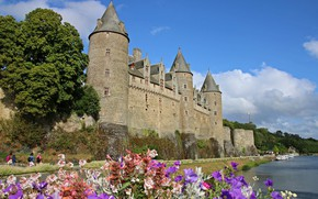 Picture flowers, Brittany, Josselin Castle, France, France, Oust River, castle, The River Mouth, The Castle Of …