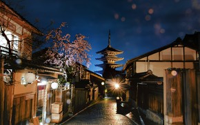 Picture night, the city, cherry, street, home, spring, Japan, Sakura, lighting, lights, flowering, Kyoto, bokeh, pagoda …