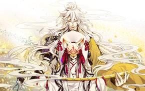 Picture girl, sword, anime, mask, art, guy, blonde, Touken Ranbu