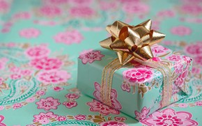 Picture flowers, green, pink, holiday, box, gift, pattern, Christmas, New year, gold plated, ornament, bow, bokeh, …