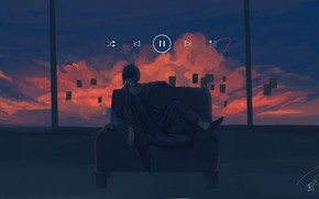 Picture sunset, music, sofa, guy, smartphone