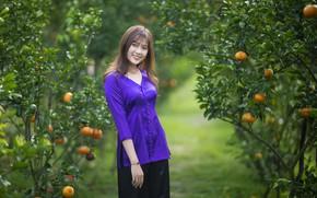 Picture girl, nature, garden, Asian, tangerines