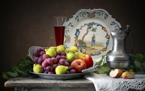 Picture the dark background, table, apples, glass, grapes, fruit, still life, items, tray, composition, figs