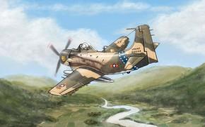 Picture war, art, attack, Vietnam, Douglas, A-1 Skyraider