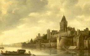 Picture landscape, oil, picture, 1650, View Valkhof in Nijmegen, Frans de Hulst, The French are the …