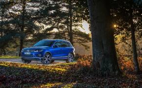 Picture auto, autumn, the sun, blue, foliage, Volkswagen, Touareg, R-Line