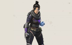 Picture the game, grey background, character, ninja, Apex Legends