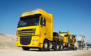 Picture Truck, Yellow, XF-105, DAF, Daph., The trailer
