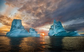 Wallpaper cold, ice, sea, the sky, water, the sun, clouds, light, sunset, glare, blue, tops, ice, ...